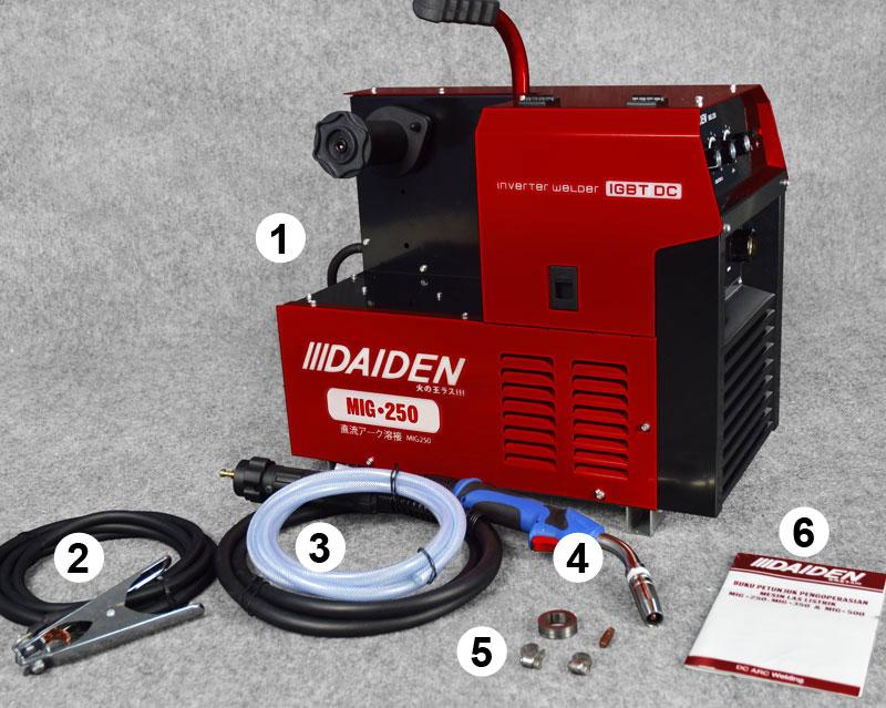 Jual-Mesin-Las-Listrik-Industri-Industrial-Welding-Machine-Daiden-MIG-250-Aksesoris-yang-didapat